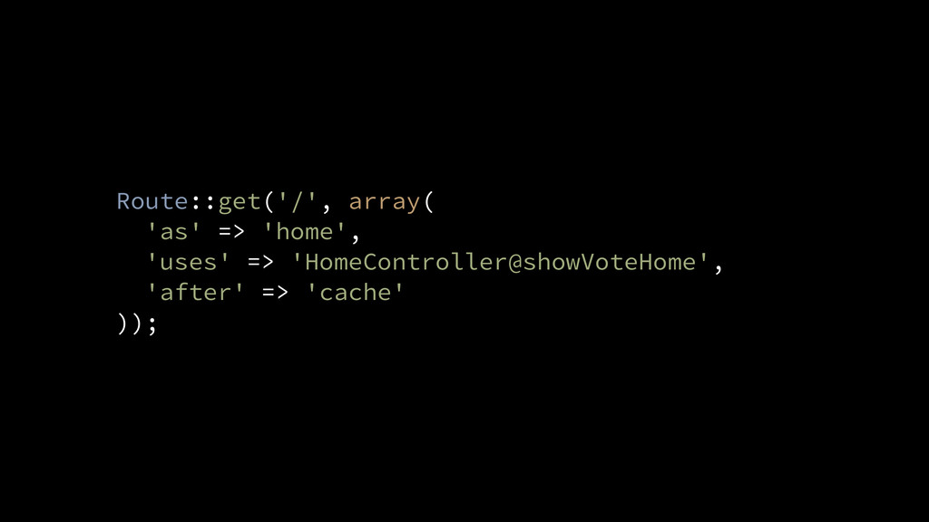Route::get('/', array( 'as' => 'home', 'uses' =...