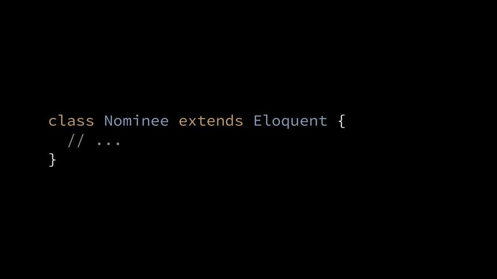 // ... } class Nominee extends Eloquent {