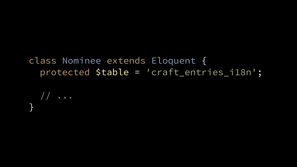 // ... } class Nominee extends Eloquent { prote...