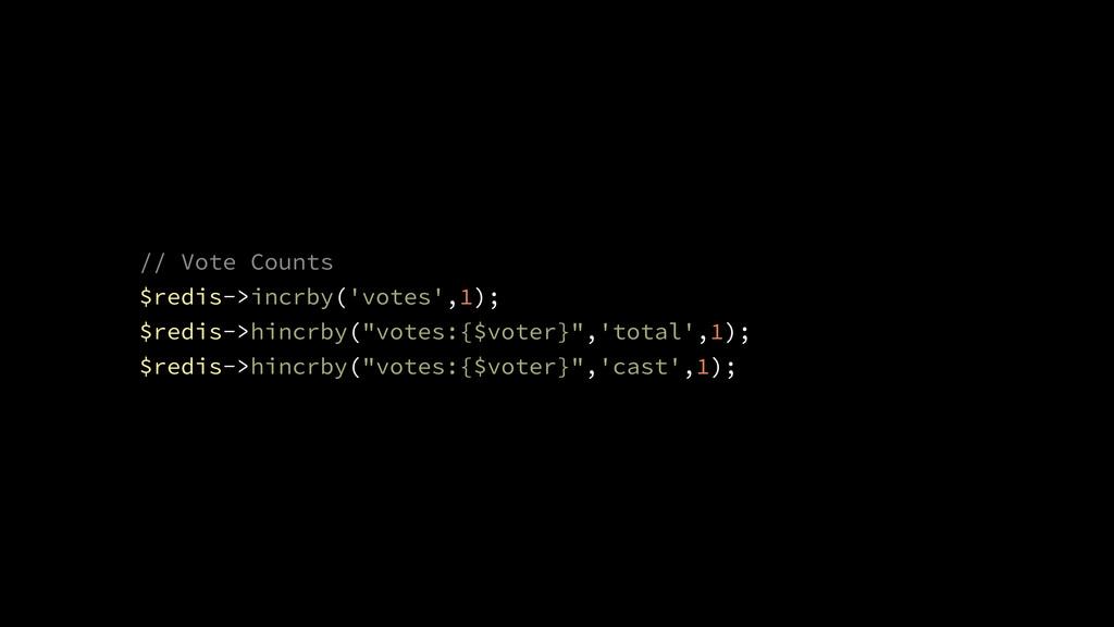// Vote Counts $redis->incrby('votes',1); $redi...