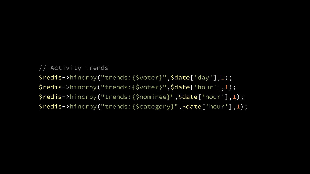"// Activity Trends $redis->hincrby(""trends:{$vo..."