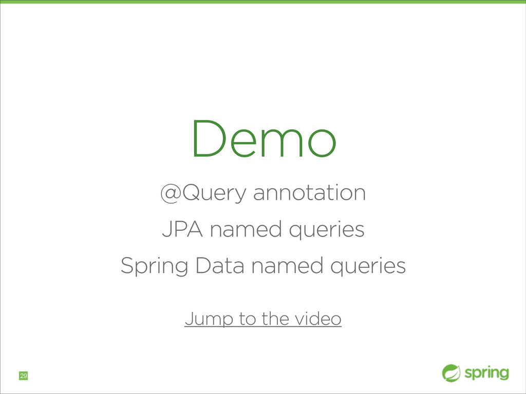 Demo @Query annotation JPA named queries Spring...