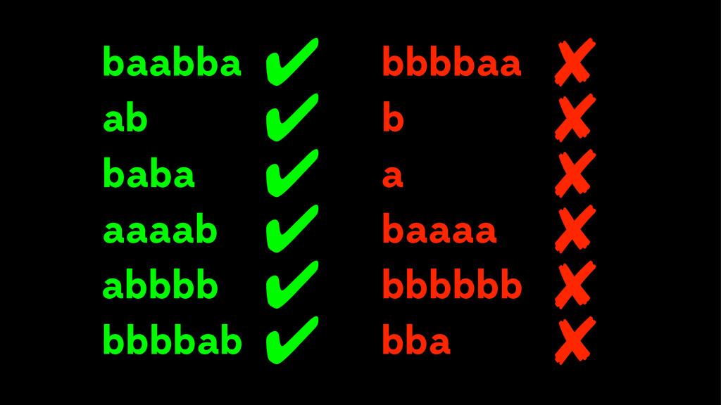 bbbbaa baabba ✔ ✘ ab baba aaaab a baaaa b bbbbb...
