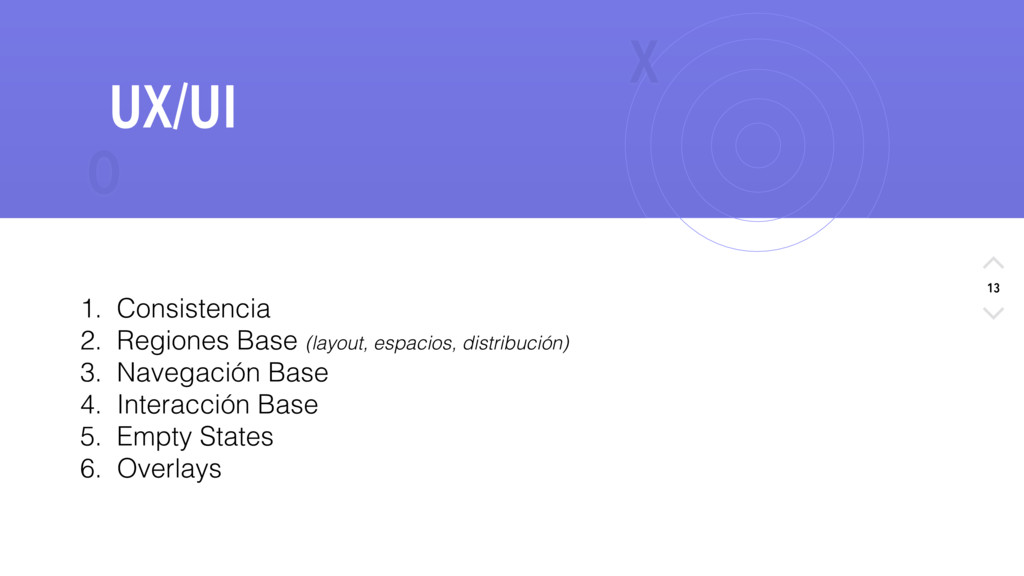 X O 13 UX/UI 1. Consistencia 2. Regiones Base (...