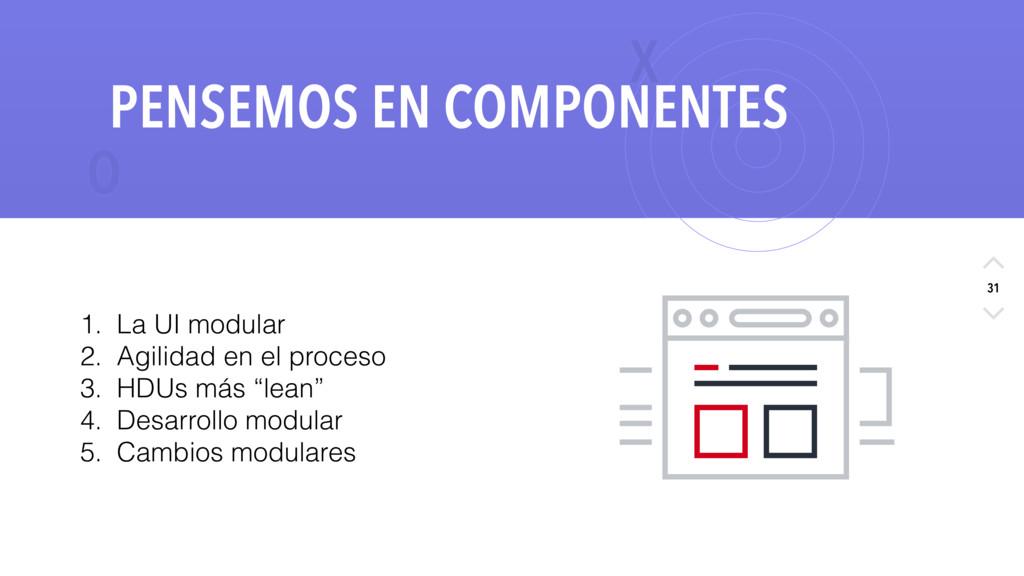 X O 31 PENSEMOS EN COMPONENTES 1. La UI modular...
