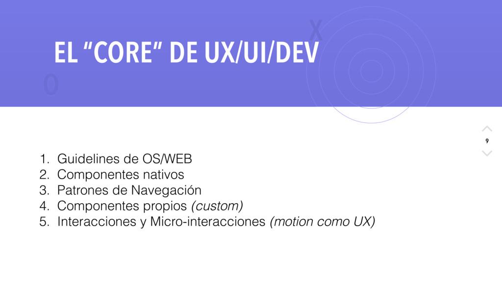 """X O 9 EL """"CORE"""" DE UX/UI/DEV 1. Guidelines de O..."""