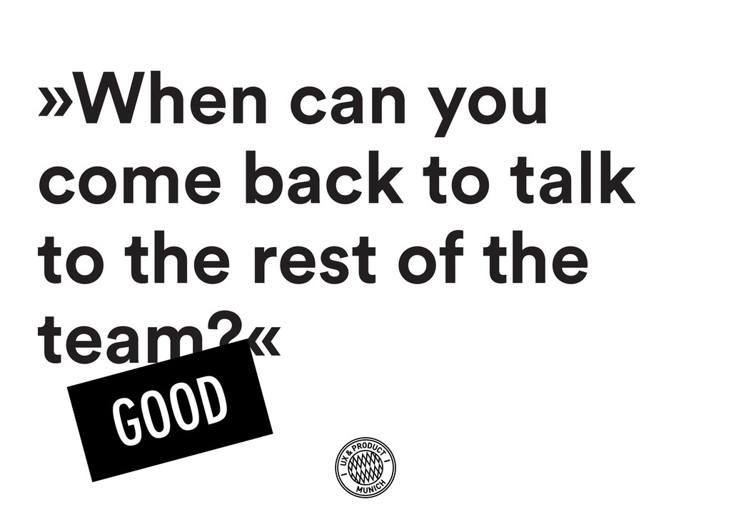 »When can you come back to talk to the rest of ...