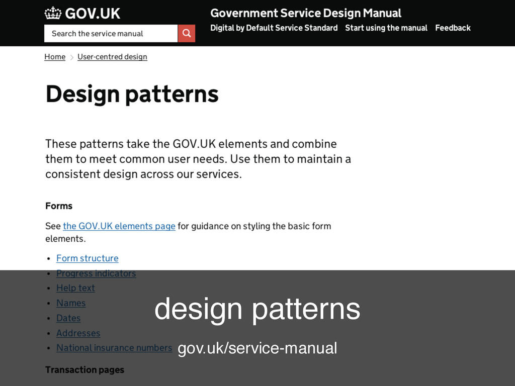 GDS @benholliday design patterns