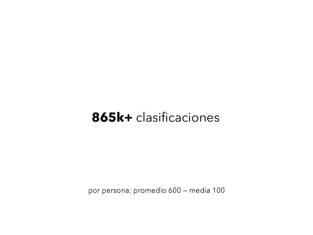 865k+ clasificaciones por persona: promedio 600 ...