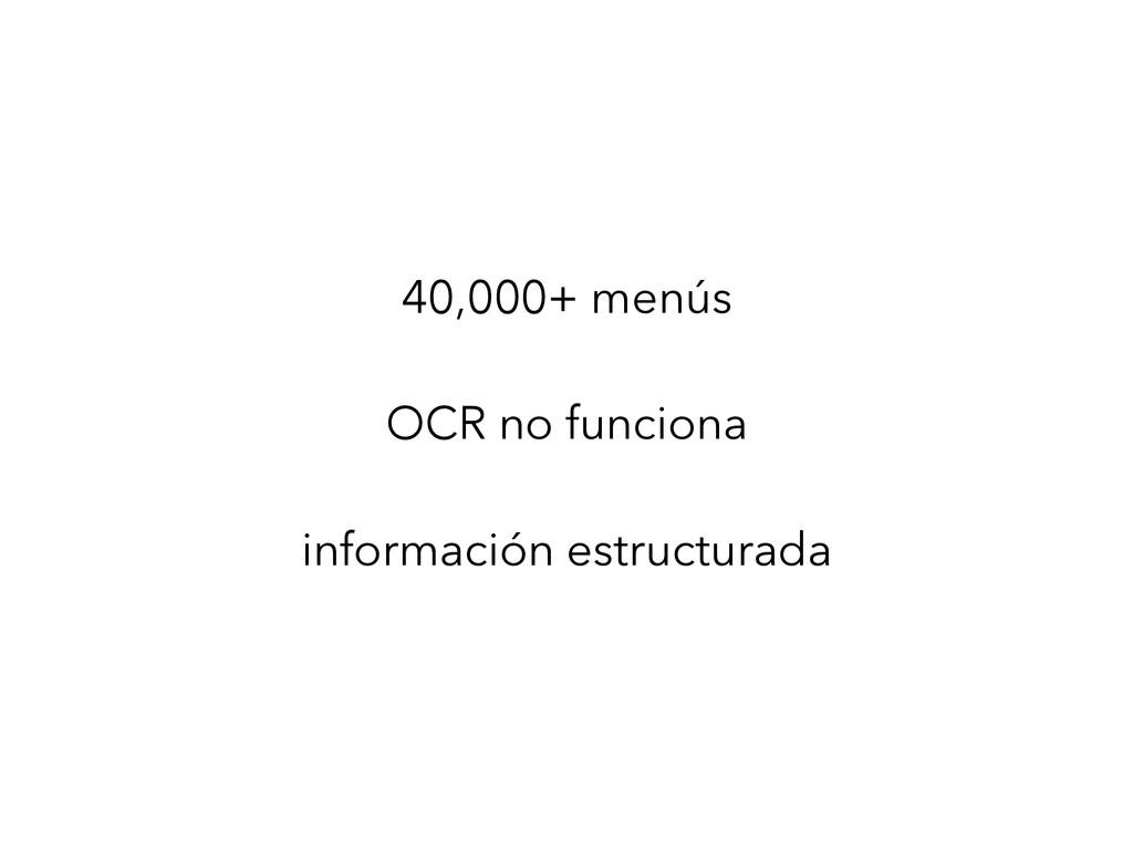 40,000+ menús ! OCR no funciona ! información e...