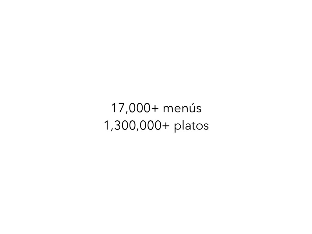 17,000+ menús 1,300,000+ platos