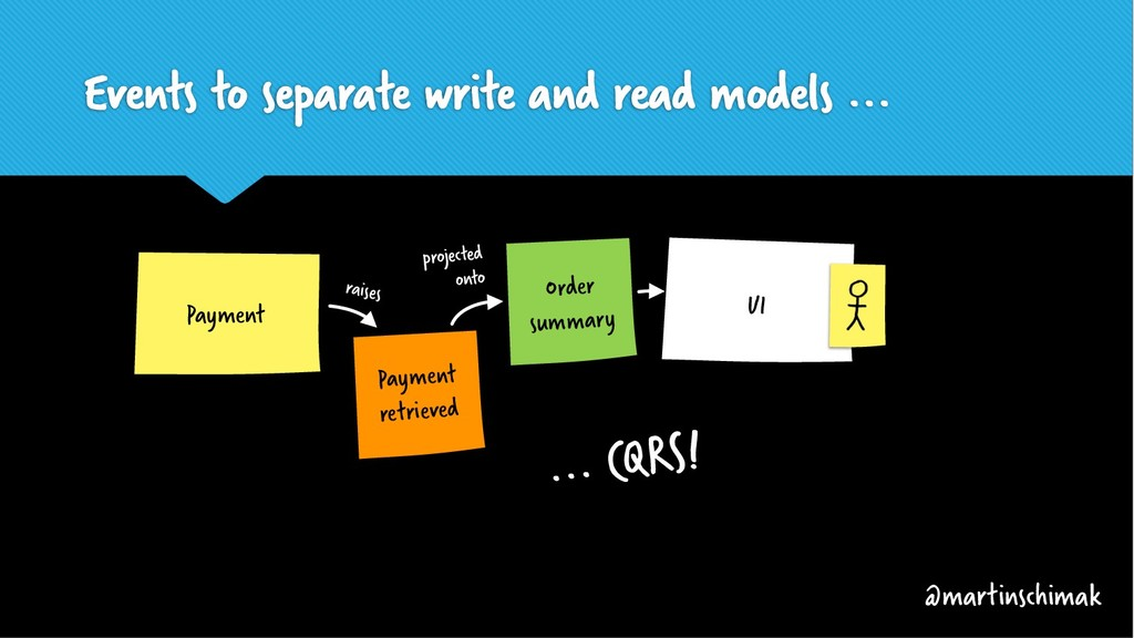 Events to separate write and read models ... Or...