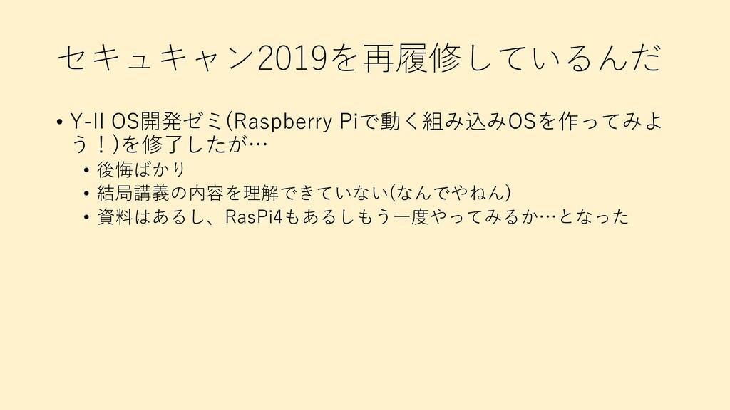 セキュキャン2019を再履修しているんだ • Y-II OS開発ゼミ(Raspberry Pi...