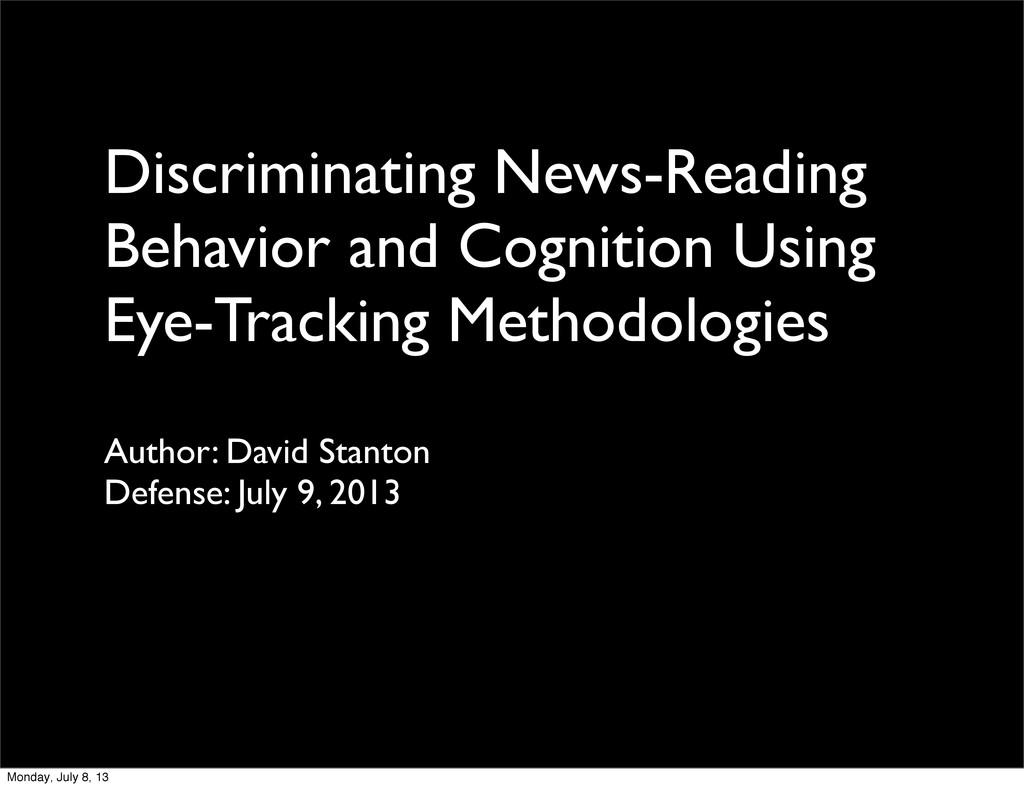 Discriminating News-Reading Behavior and Cognit...