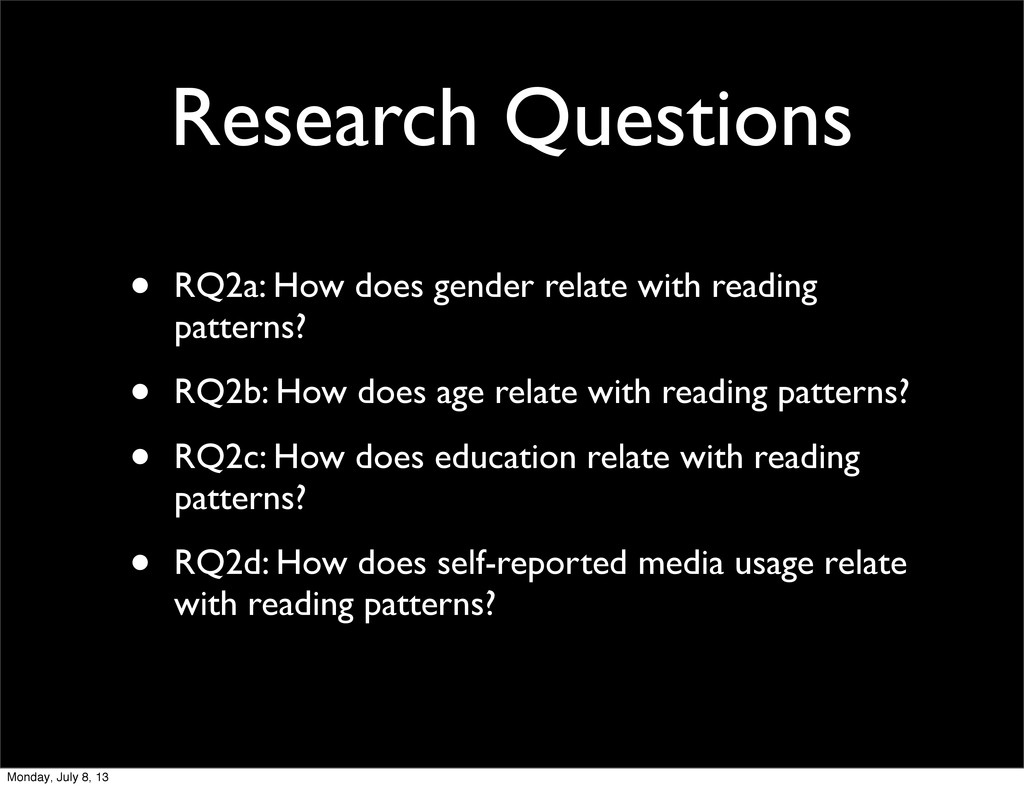 Research Questions • RQ2a: How does gender rela...