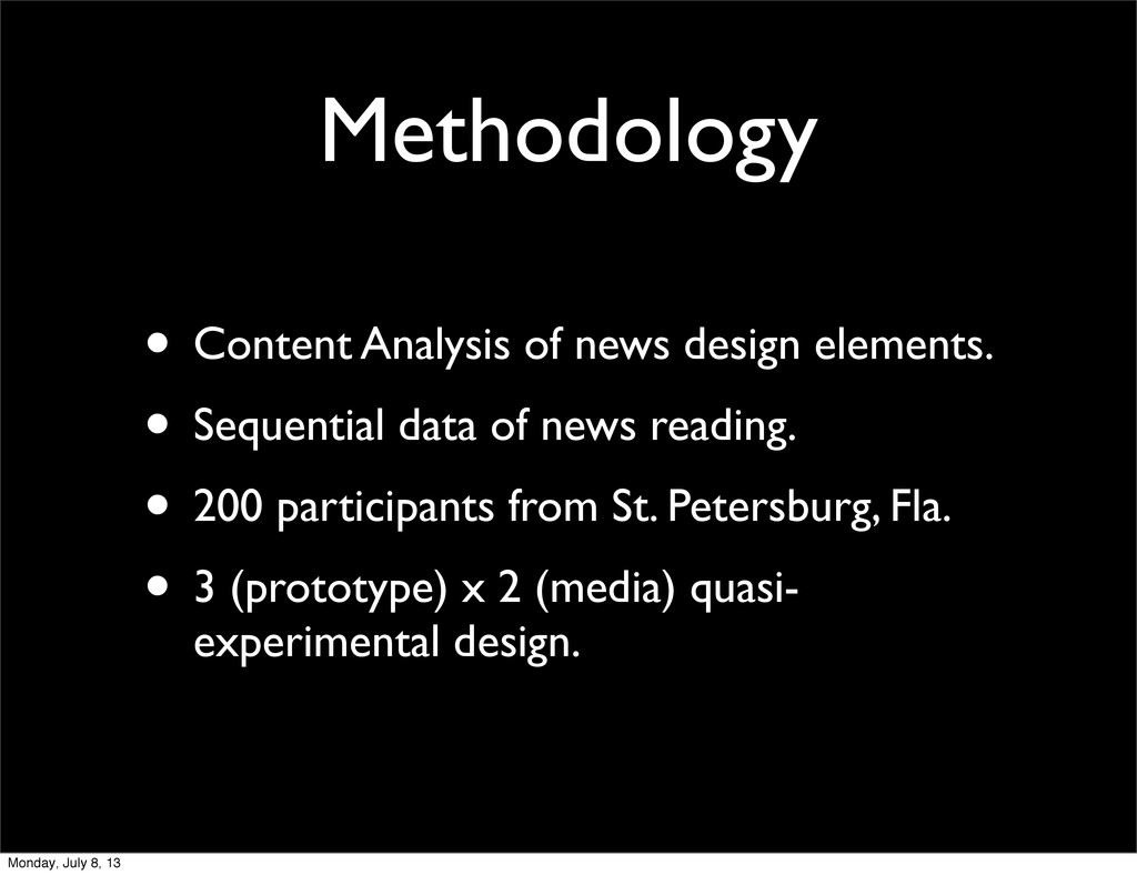 Methodology • Content Analysis of news design e...