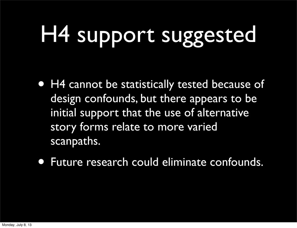 H4 support suggested • H4 cannot be statistical...