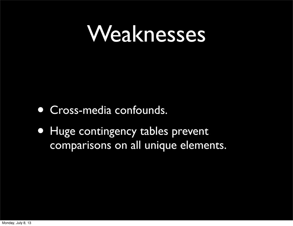 Weaknesses • Cross-media confounds. • Huge cont...