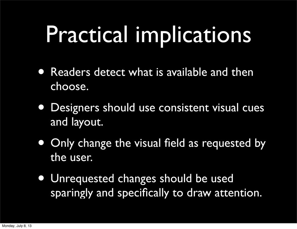 Practical implications • Readers detect what is...