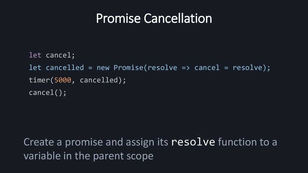 Promise Cancellation let cancel; let cancelled ...