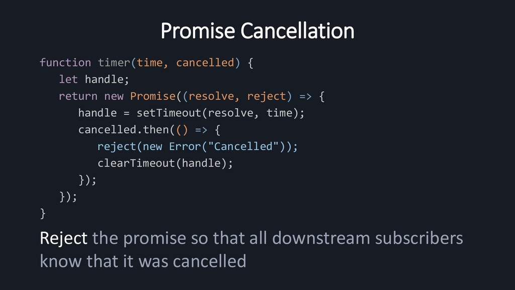 Promise Cancellation function timer(time, cance...