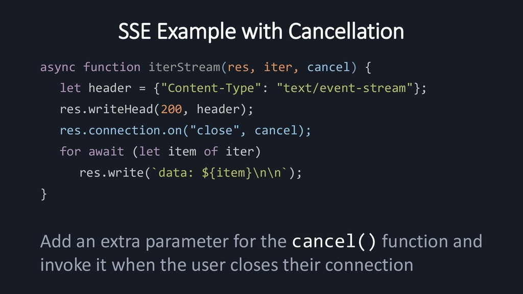 SSE Example with Cancellation async function it...
