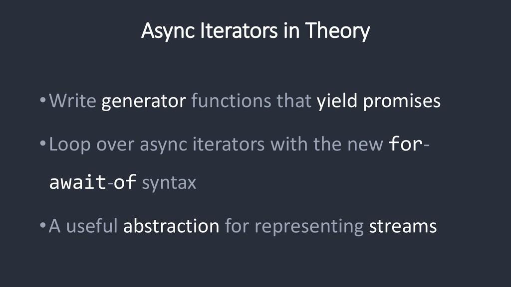 Async Iterators in Theory •Write generator func...