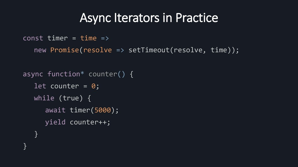 Async Iterators in Practice const timer = time ...