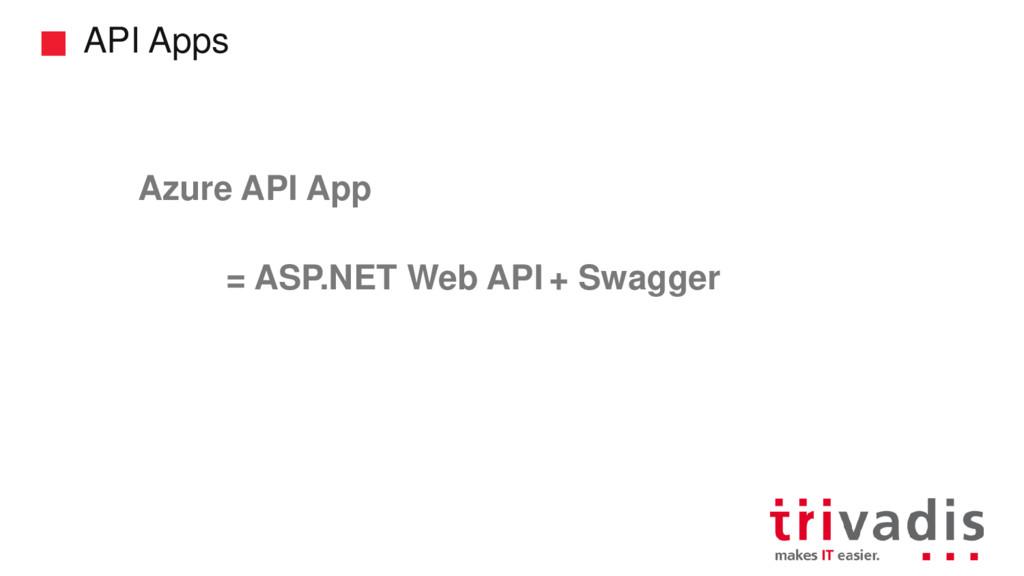API Apps = ASP.NET Web API Azure API App + Swag...