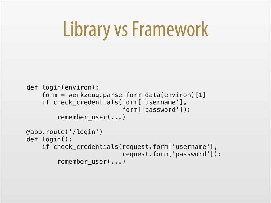 Library vs Framework def login(environ): form =...
