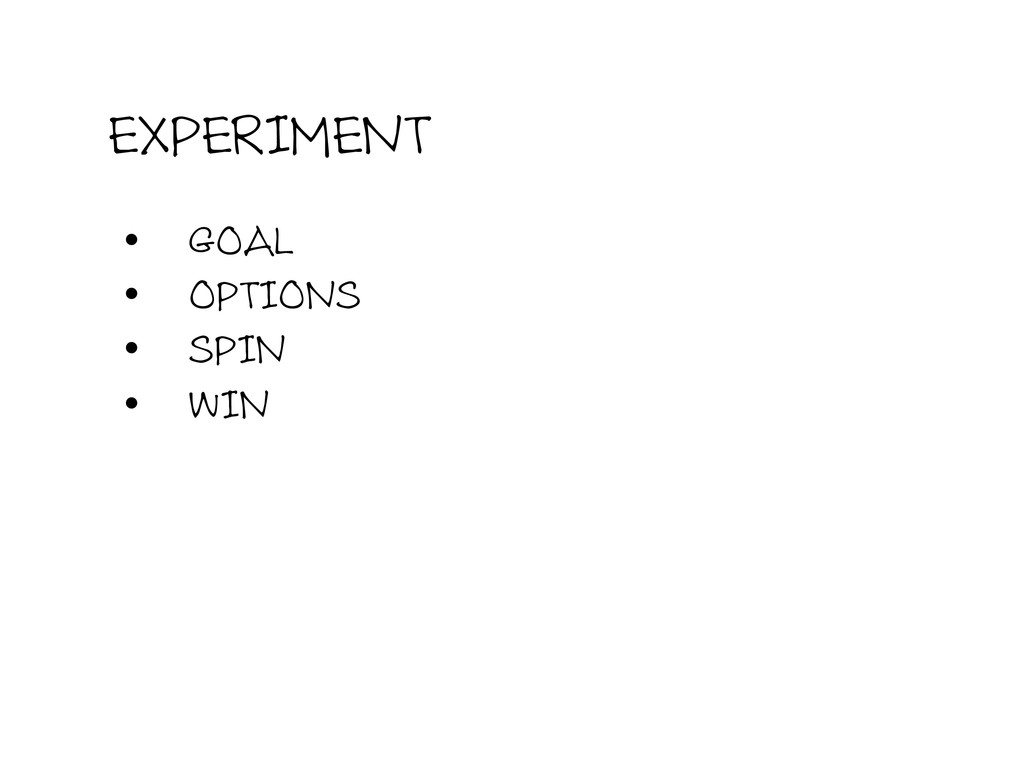 EXPERIMENT • GOAL • OPTIONS • SPIN • WIN