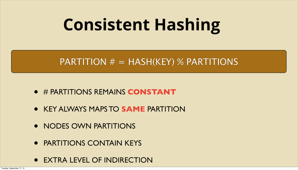 PARTITION # = HASH(KEY) % PARTITIONS • # PARTIT...