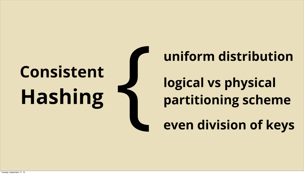 uniform distribution Consistent Hashing {logica...