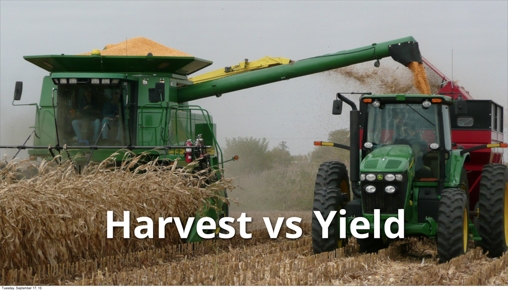 Harvest vs Yield Tuesday, September 17, 13