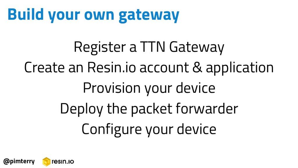 Register a TTN Gateway Create an Resin.io accou...