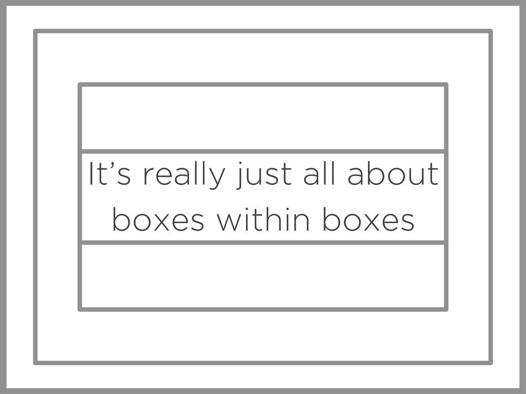 It's really just all about boxes within boxes