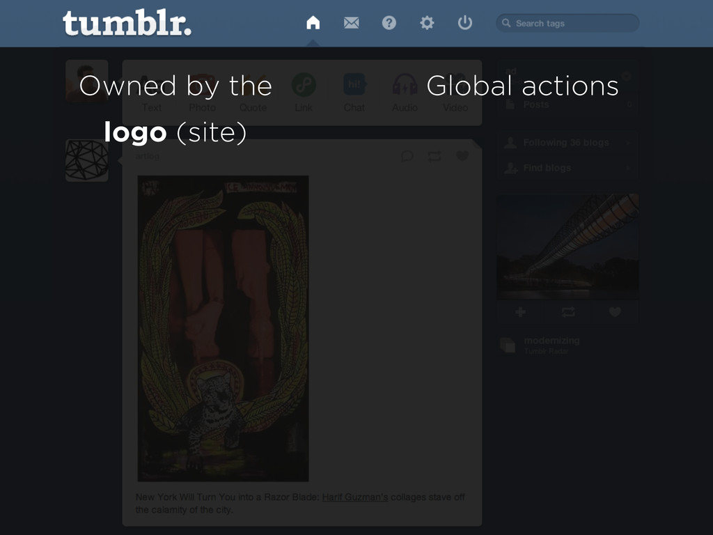 Owned by the logo (site) Global actions