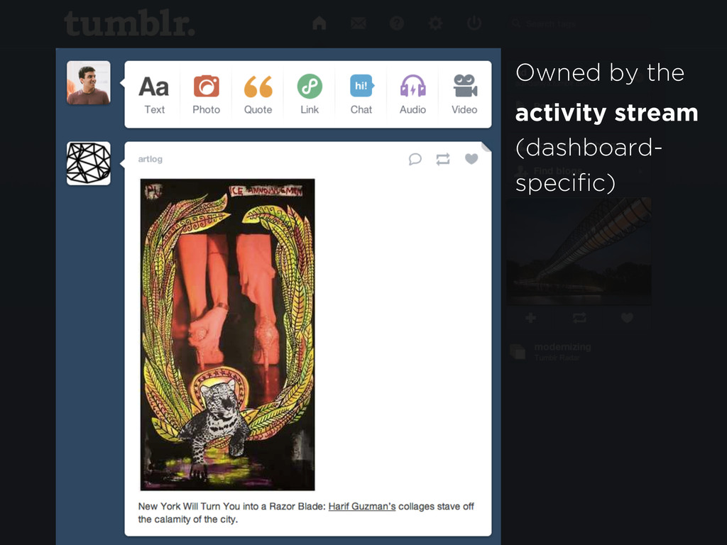 Owned by the activity stream (dashboard- specif...