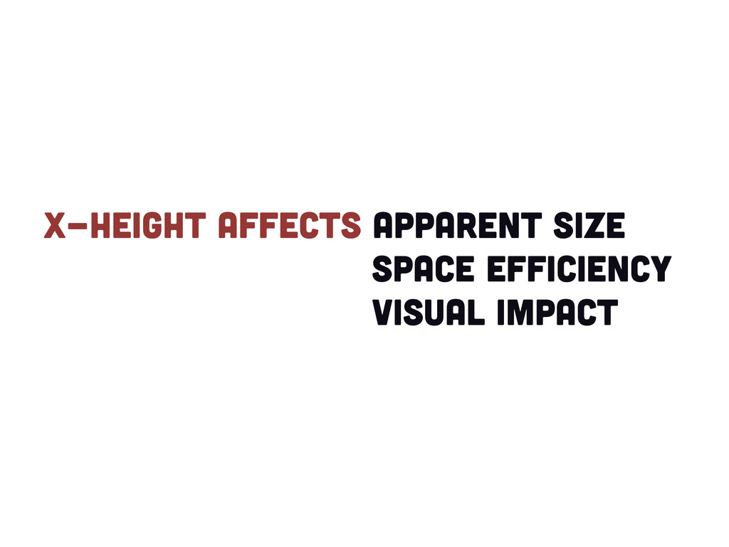 X-height affects apparent size space efficiency...