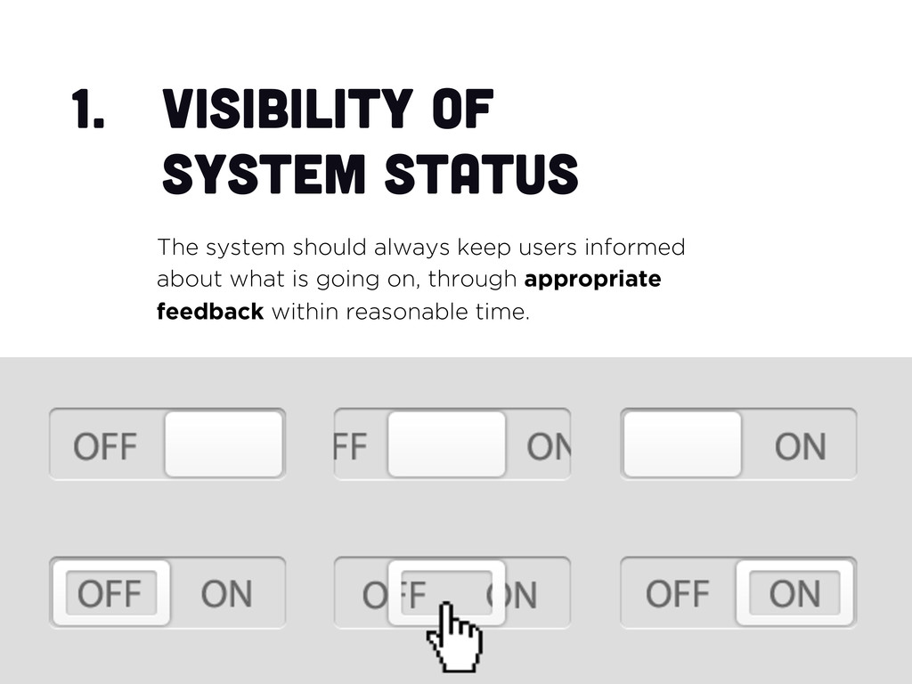 1.  Visibility of system status The system shou...