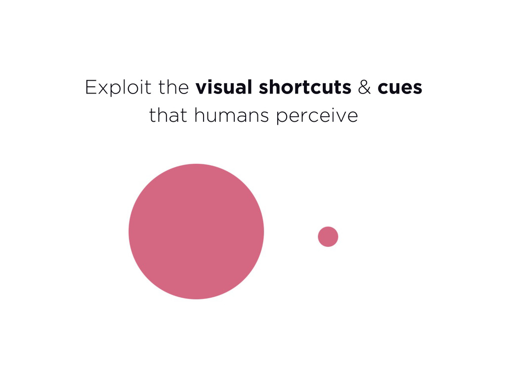 Exploit the visual shortcuts & cues that humans...