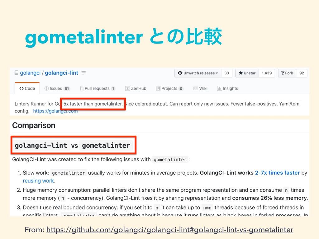 gometalinter ͱͷൺֱ From: https://github.com/gola...