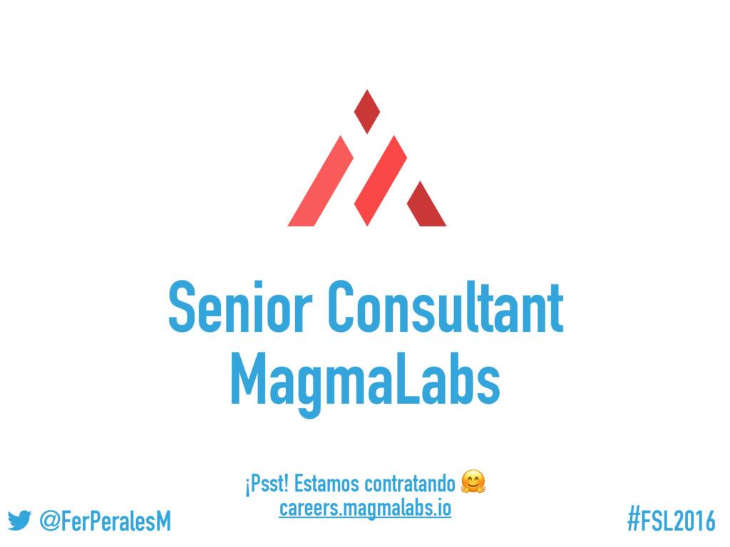 #FSL2016 ! @FerPeralesM Senior Consultant Magma...