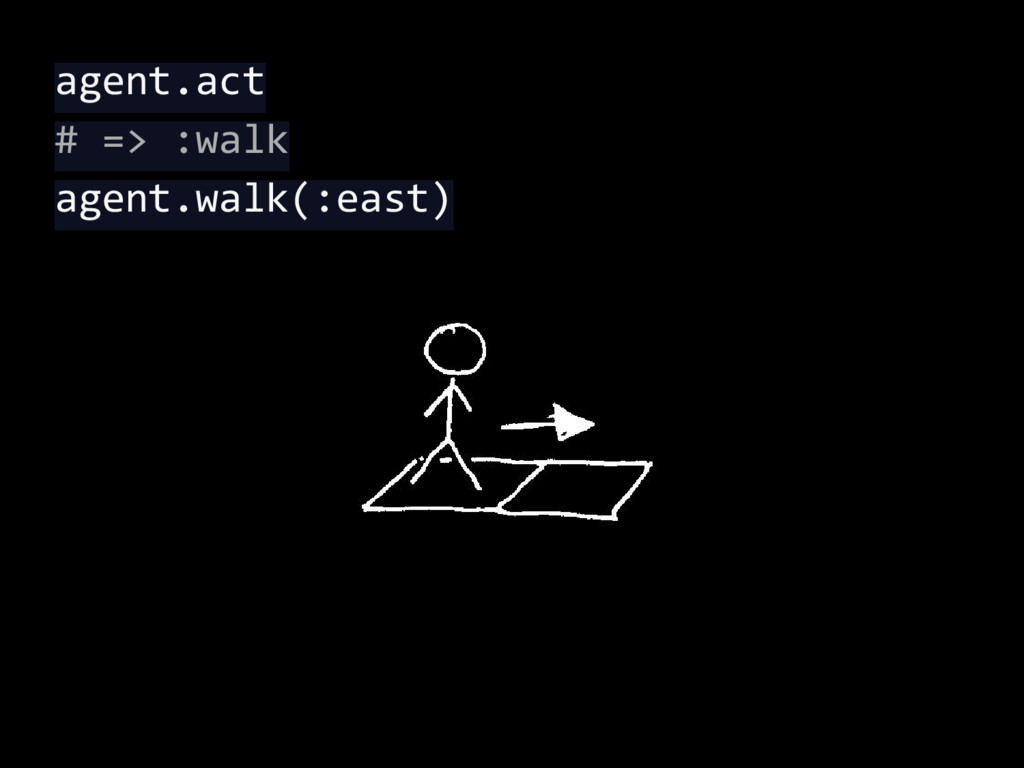 agent.act # => :walk agent.walk(:east)