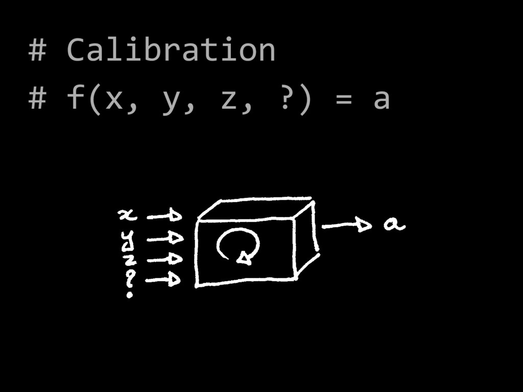 # Calibration # f(x, y, z, ?) = a