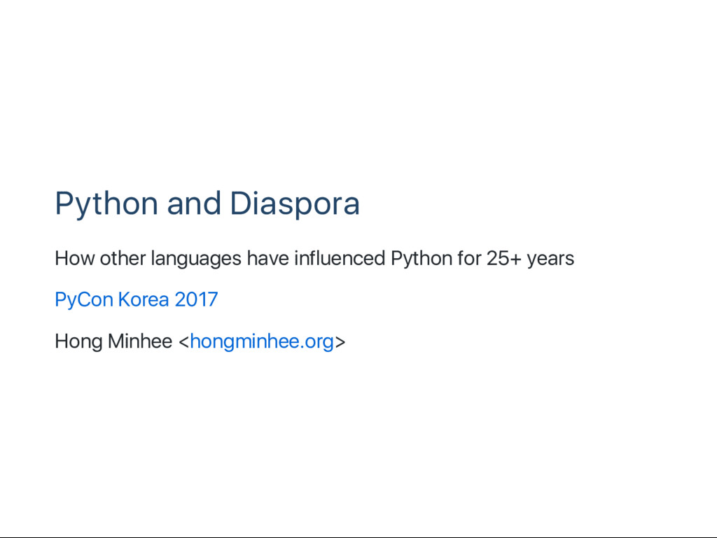 Python and Diaspora How other languages have in...