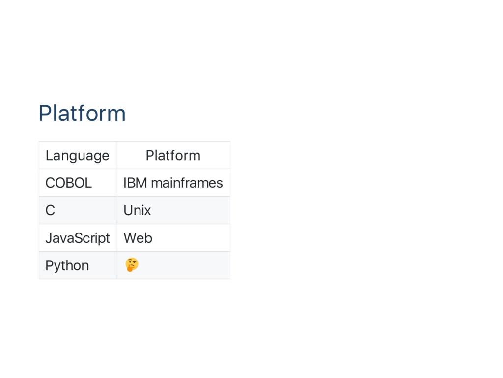 Platform Language Platform COBOL IBM mainframes...