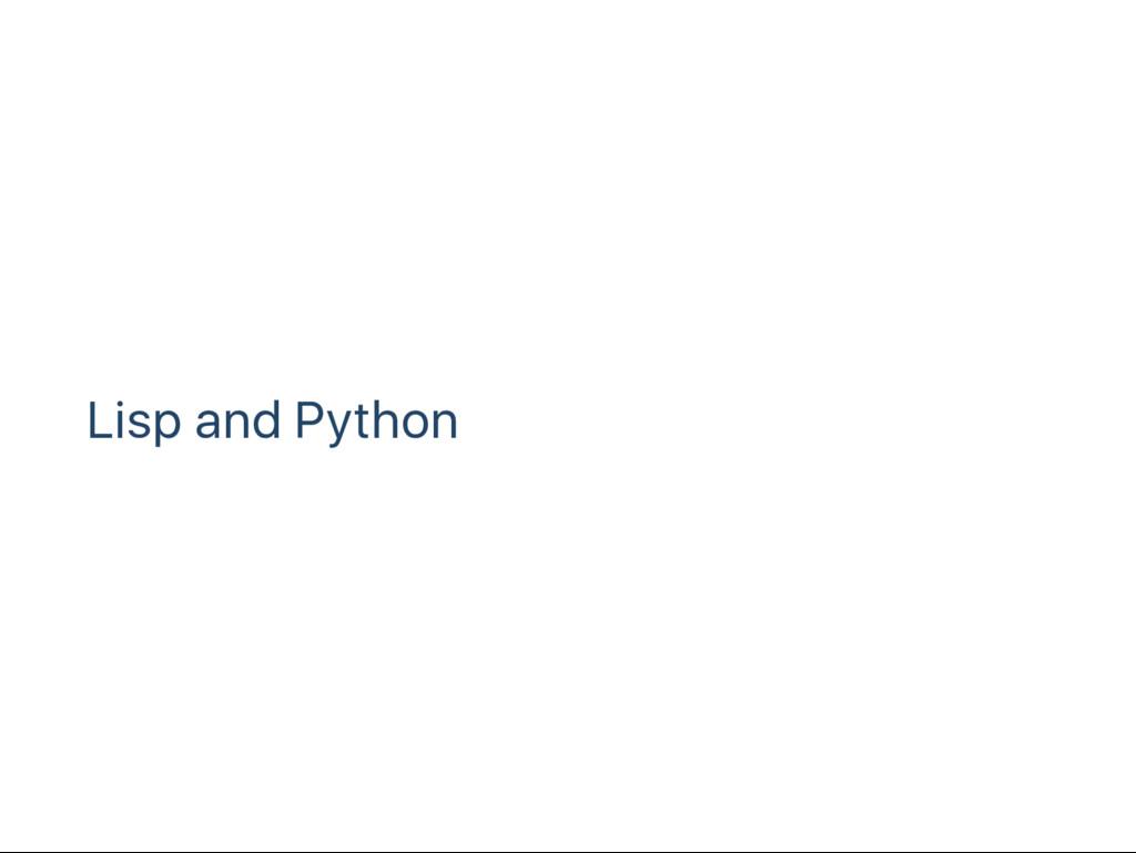 Lisp and Python