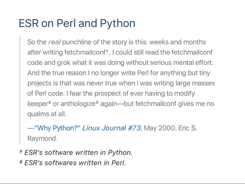 ESR on Perl and Python So the real punchline of...