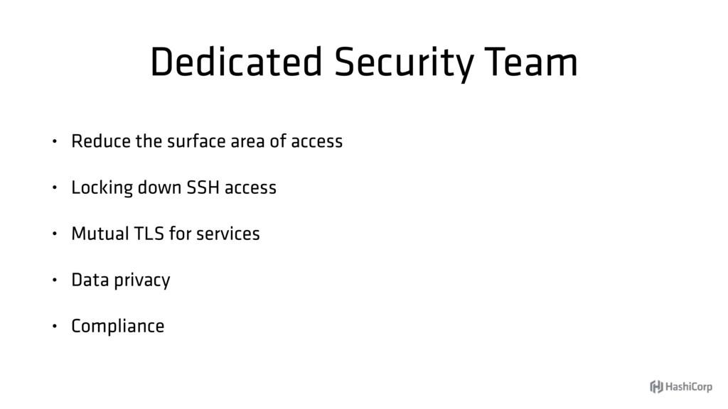 Dedicated Security Team • Reduce the surface ar...
